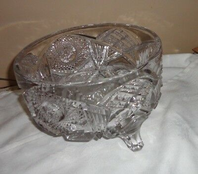 """Vintage American Cut Glass Crystal Heavy Footed Serving Bowl 7 1/4""""D X 4 1/2""""H"""