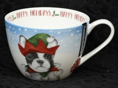PORTOBELLO By DESIGN HAPPY HOLIDAYS BOSTON TERRIER Bone China Jumbo Cup