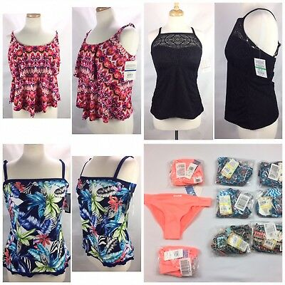 Womens Wholesale Mix Swimsuit 20 Piece Lot Bikini Bottoms Tops Med Large All NWT