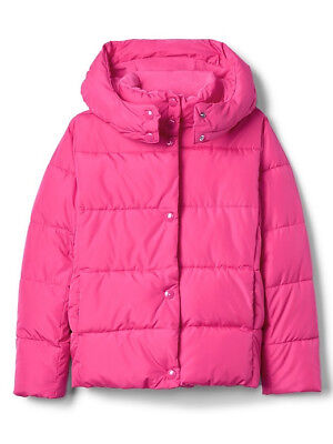 NWT NEW Gap Kids Girls Berry Pink Eco Puffer Hoodie Winter Coat Jacket $98 L 10