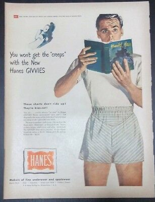 Hanes Givvies Man In Boxers Reading Book Original Vintage Ad 1949 Home Decor