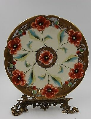 Antique Limoges Poppies  Hand Painted Tray Charger