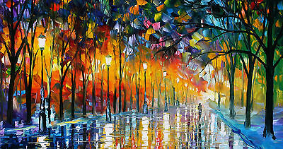 rain walk Art  Painting PRINT canvas Large Modern Abstract Wall Deco 100cm x70cm