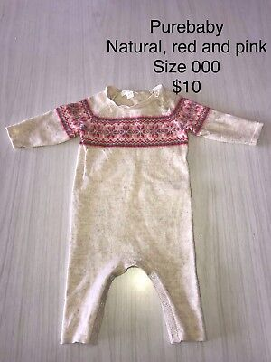 Purebaby, Seed, Marquise, precious, Milky. Size 000 Suit boy or girl.