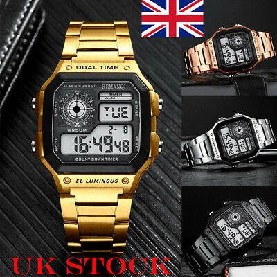 Mens Digital Quartz Wrist Watch LED Stainless Steel Sport Army Waterproof Watch