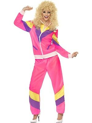 Ladies 1980's Neon 80's Scouser Fashion Tracksuit Shell Suit Pink Costume