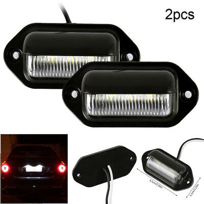 Universal 6LED License Number Plate Light Lamps for Truck SUV Trailer Lorry 2PCS