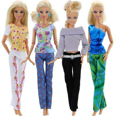 5 TOPS+5 PANTS FASHION GIFT CASUAL SUMMER CLOTHES OUTFIT FOR BARBIE DOLL Random