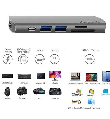 VPrix 7in1 MacBook Pro Apple - SD/Micro-SD Kartenleser und 2 USB 3.0 Ports