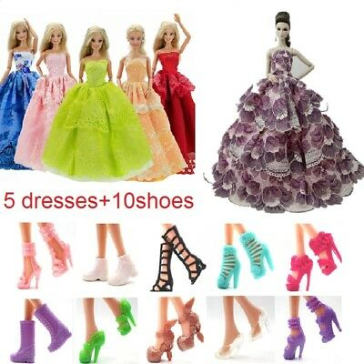 5 Handmade Dresses+10 shoes Clothes Party Outfit For Barbie Doll Toy Kid Gift