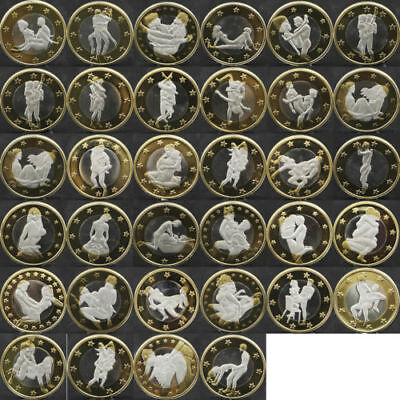 34X Sex Commemorative Coins Different Kama Sutra Position Hard Plastic Capsules