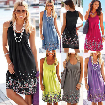 Plus Size Womens Boho Floral Sleeveless Summer Holiday Beach Party Midi Dress AU