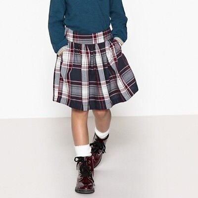 La Redoute Girls Navy/Wine Check Skirt with Pockets - Age: 5 Years
