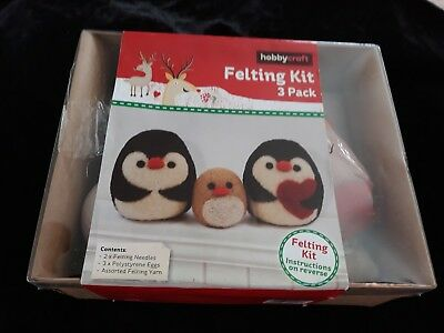 Hobbycraft 3 Penguin Felting Craft Kit BNIB