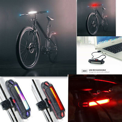Bike Bicycle Cycling USB Recharge Front Rear Light 6 Modes COB LED Tail Lamp BTA
