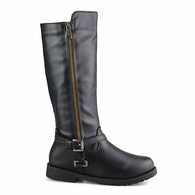 Brianna-25N Girls Black Mid Knee High Winter Riding Zip Up School Boots,