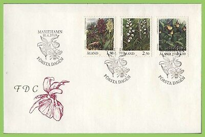 Aland 1989 Orchids set on First Day Cover