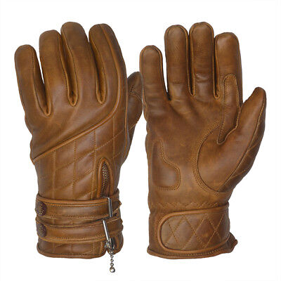Goldtop Quilted Cafe Racer Fleece Lined Waxed Brown Leather Motorcycle Gloves