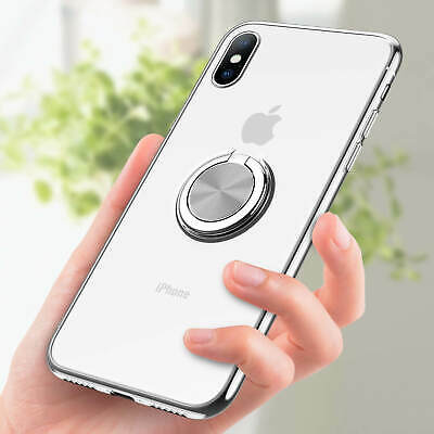 For iPhone XS Max XR 7Plus Magnetic TPU Rubber Case Cover With Ring Stand Holder