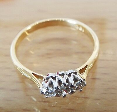 Vintage lovely hallmarked 18 carat yellow gold three stone diamond ring size O/P