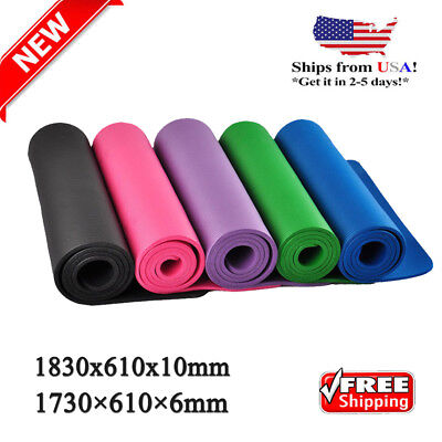 NEW Extra Thick 10mm Exercise Yoga Pilates Mat Gym Fitness Non Slip Workout US
