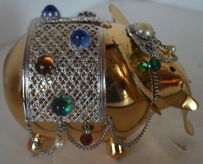 Vintage Napier Elephant Bank Jewel Gold Tone Bank Bejeweled