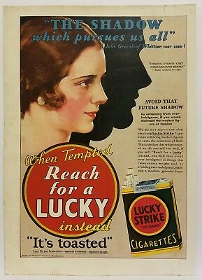 "1930 Lucky Strike ""Avoid the Future Shadow"" Magazine Ad"