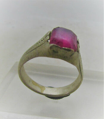 Beautiful Post Medieval Silvered Decorated Ring With Purple Stone