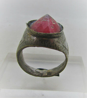 Beautiful Post Medieval Silvered Decorated Ring With Red Stone