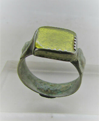 Beautiful Post Medieval Silvered Decorated Ring With Yellow Stone