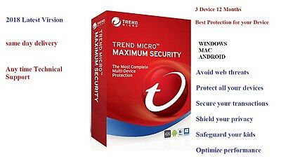 Trend Micro Maximum Security 12 2018 3 Device | 1 YEAR | Windows | MAC | Android