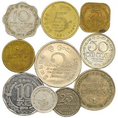 Sri Lanka Coins From South Asia Island Sri Lankan Old Collectible Coins Rupees