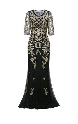 Plus Vijiv Vintage 1920s Long Art Deco Gatsby Dress 2/3 Sleeve Black&Gold Sequin