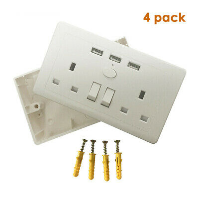 5x 2 Gang Sockets 13amp White Double Twin Switched Wall Sockets with 3 USB Ports