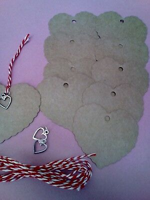 10 Large Heart Tag+ Charms Name Cards Wedding Christmas Gift Labels + Twine