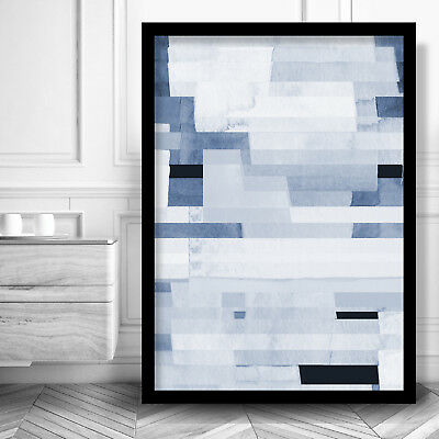 Abstract Art PRINT of Navy BLUE White Geometric Watercolour Blocks Picture