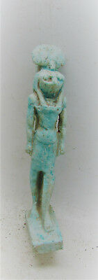 Scarce Ancient Egyptian Glazed Faience Statuette Of Sehkmet