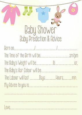 Baby Shower Game Cards - Prediction & Advice - 16 of A6 Coloured, Gender Neutral