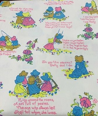 Vintage 60s 70s SUNBONNET GIRLS Sweet Novelty Print Cotton Fabric Panels
