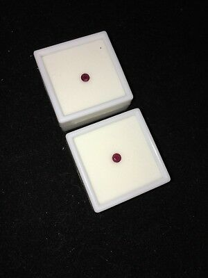 (2) .40Ct Red Burma Rubies, 4Mm Round, Beautiful Unused Loose Gemstones!!