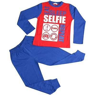 Kids Girls Boys Pajamas Eat Sleep Selfie Repeat Red & Blue Loungewear PJS 2-13Yr