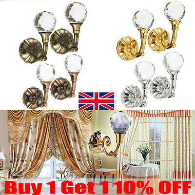 2x Durable Large Metal Crystal Glass Curtain Holdback Wall Tie Back Hooks Home