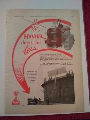 Vtg. 1929 Willamette Ersted Co Ad, Advertisement: Hyster for Caterpillar Tractor