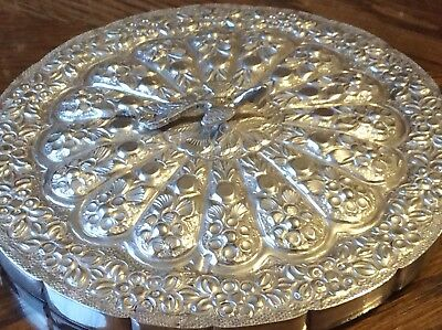 Beautiful Carved Silver Back Mirror - Arabian Silver
