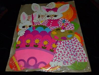 3 Large Vintage 1960's Dennison Die cut Easter Chicks Bunny Flowers Unused NIP