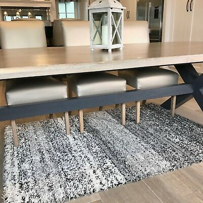 Thick Dense Mottled Black Grey Shaggy Rugs Cosy Non Shed Striped Dining Room Rug