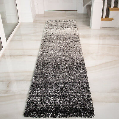 Thick Dense Mottled Black Grey Shaggy Runner Rugs Long Narrow Hallway Runners UK