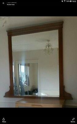 Large Over mantle mirror,period original, solid wood 143 x 137cm. Beautiful