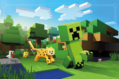 Minecraft Ocelot Chase Gaming Maxi Poster Print 61x91.5cm | 24x36 inches