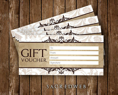 6 x Blank Gift Vouchers Certificates For Personal Use, Quality Card & Print